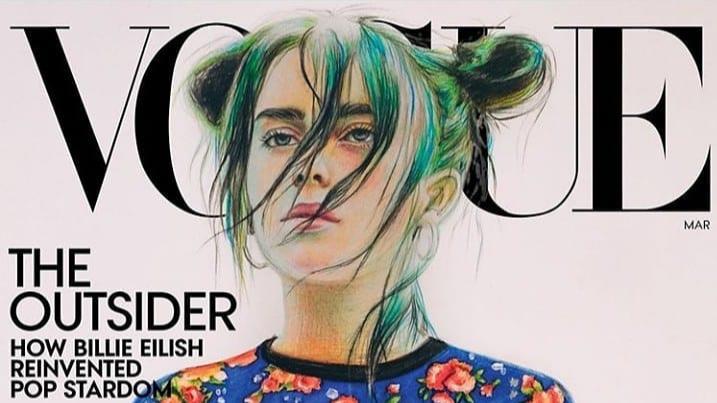 Рисунок 16-летней жительницы Чайковского с портретом Билли Айлиш попал на обложку Vogue в США