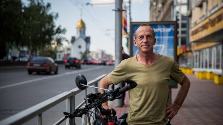 В Новосибирск приехал немец, путешествующий вокруг света на электровелике