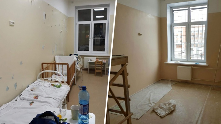 В челябинской больнице отремонтировали палату, в которой краска со стен осыпалась в детские кровати