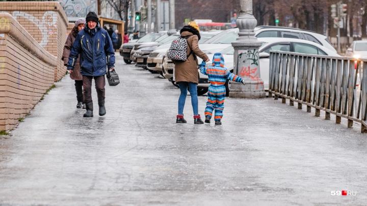 В Прикамье продлили предупреждение о сильном гололеде и изморози