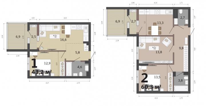 Квартиры с террасами есть только на 1-м этаже<br>