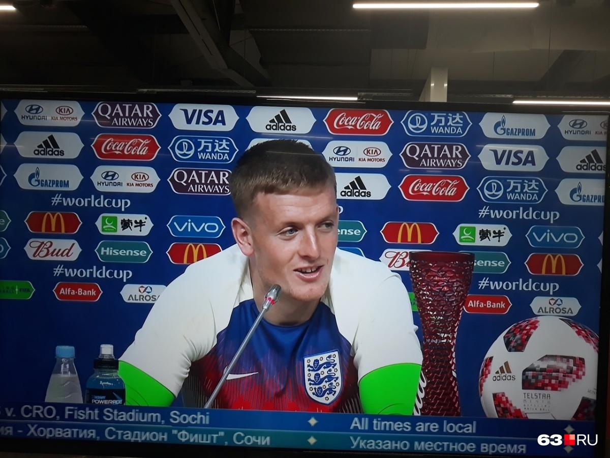 Голкипер сборной Англии Джордан Пикфорд отстоял матч на ноль