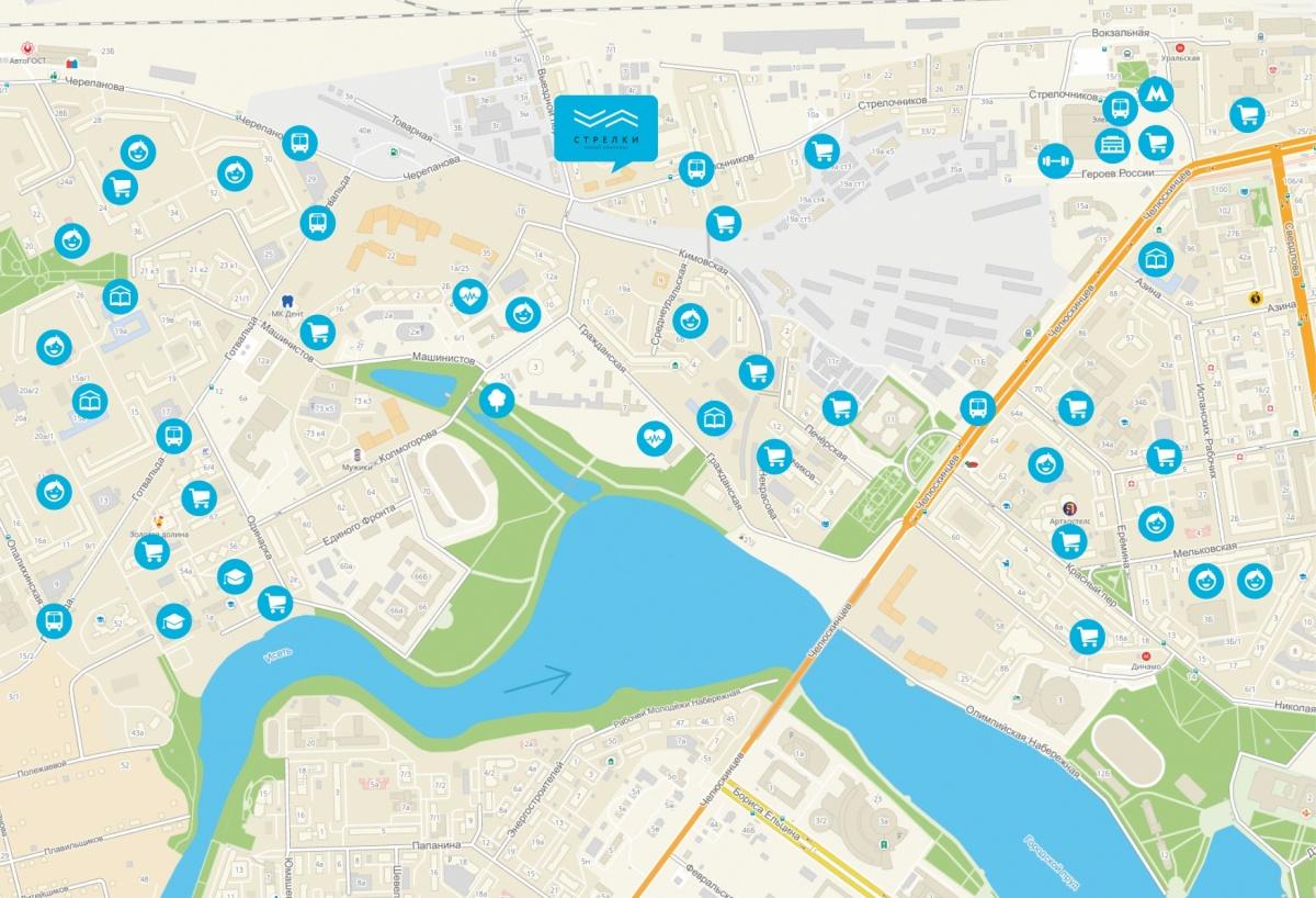 На карте отмечено расположение дома, до центра — рукой подать