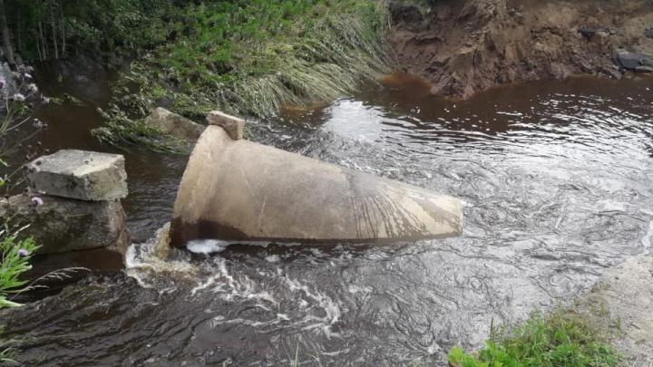 В Ярославской области из-за дождей в нескольких районах размыло трассу