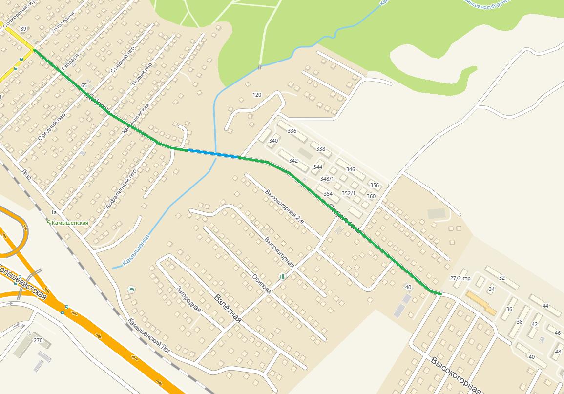 Зелёным отмечен участок, который жители отремонтировали в этом июле, синим — то, что ремонтировали в апреле и прошлом году