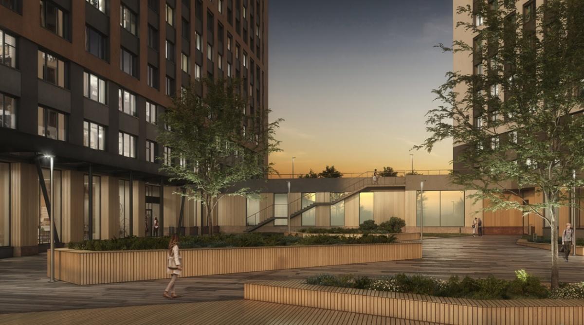 Во дворе «Татлина» появятся три террасы, где жильцы смогут сидеть с ноутбуками или встречаться с друзьями