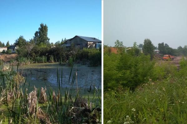 По словам местных жителей, ежедневно к озеру приезжают 5–6 КАМАЗов с землёй и строительным мусором