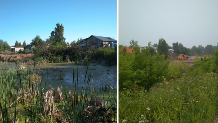 Строители завалили землёй половину озера на улице Кубовой