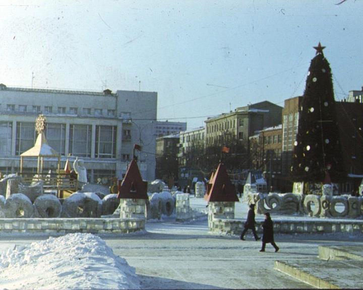 Ледовый городок на площади Ленина в 1966 году