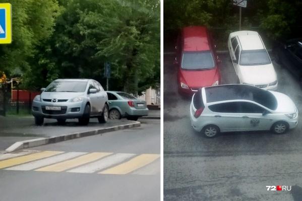 Один припарковался прямо у «зебры», другой — поставил машину поперек