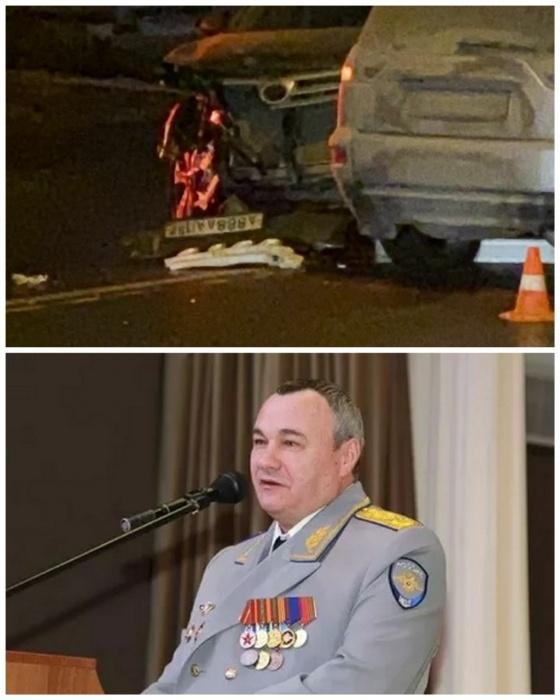 На фото автомобиль, ставший причиной аварии и его владелец — генерал-майор Александр Пильганов