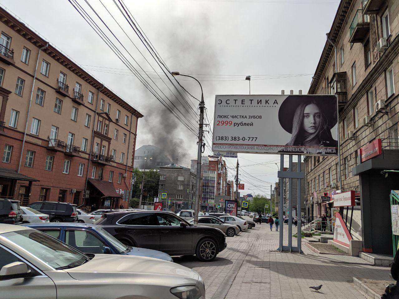 Пожар случился недалеко от станции метро «Красный проспект»