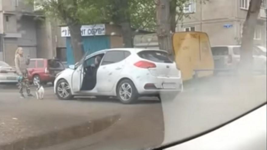 Девушка с собакой вступила в противостояние с автохамом на тротуаре, но проиграла его