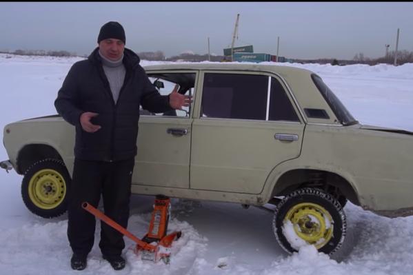 Скриншот из видео «Что если кардан приварить к двигателю/едем без кпп»