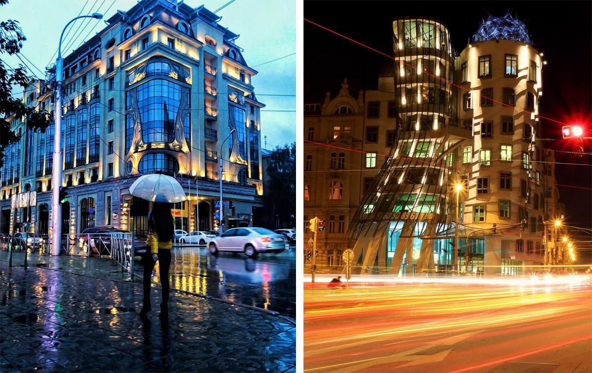 Слева — Новосибирск Справа — Прага
