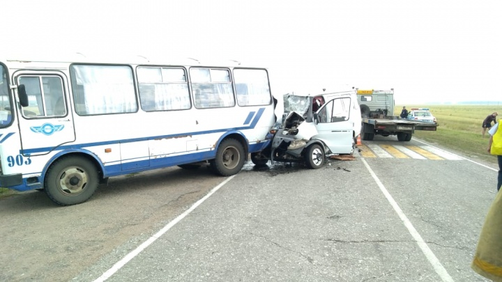 На трассе под Омском «Газель» влетела в пассажирский автобус — пострадали восемь человек