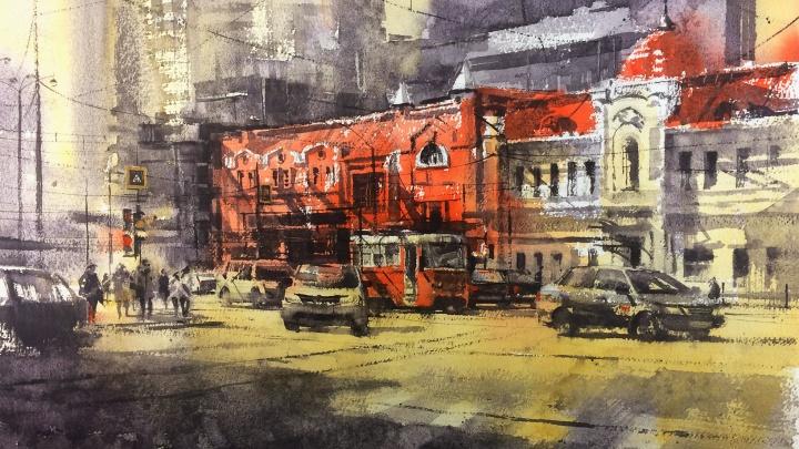 Дом на Хохрякова, «Высоцкий» и Кольцово: художник показал кипящую жизнь города в акварели