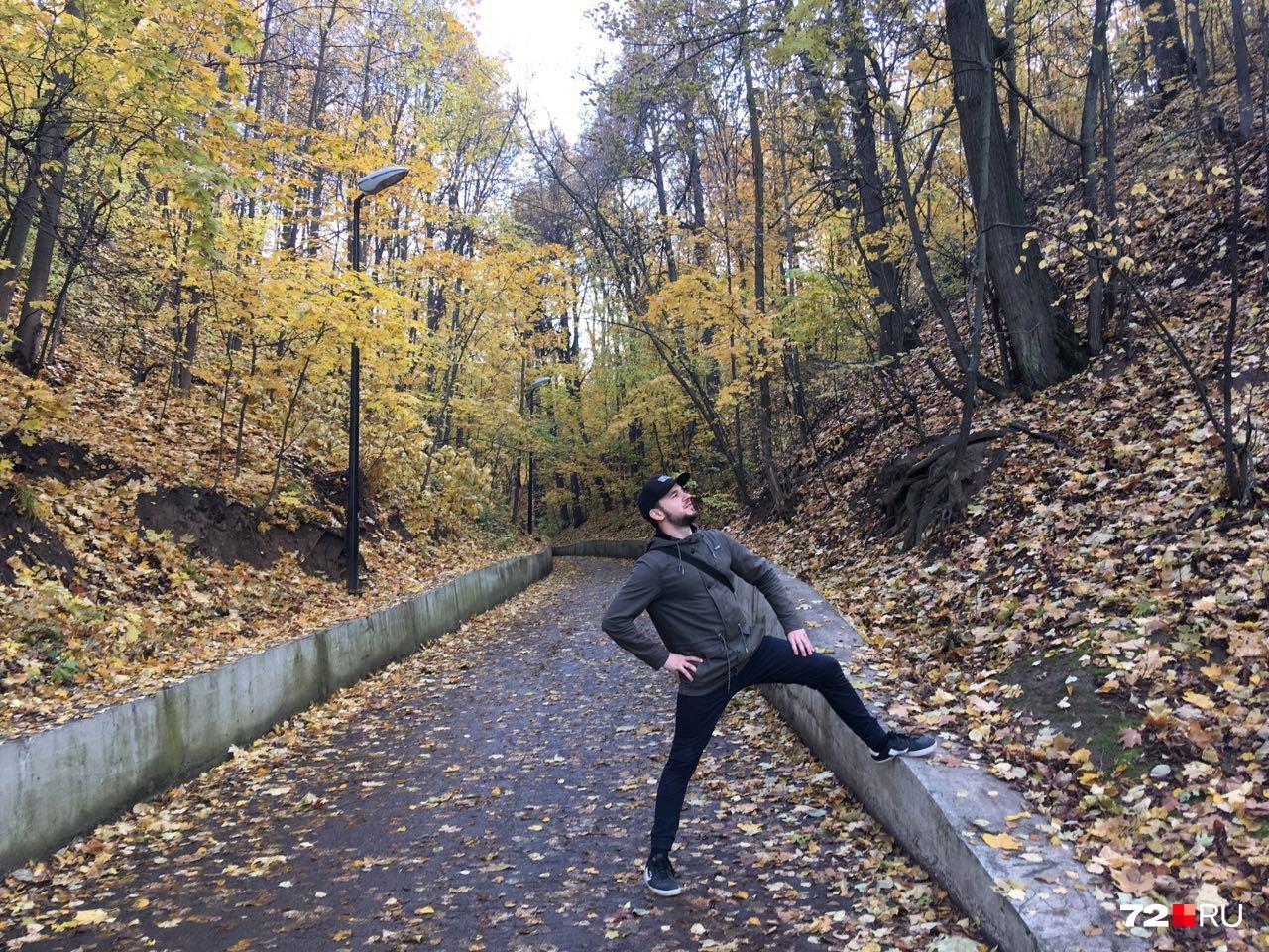 В парке Горького растет много кленовых деревьев
