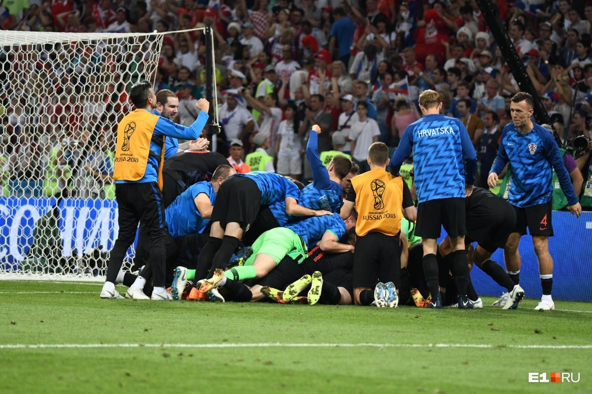 Радость хорватов после решающего пенальти