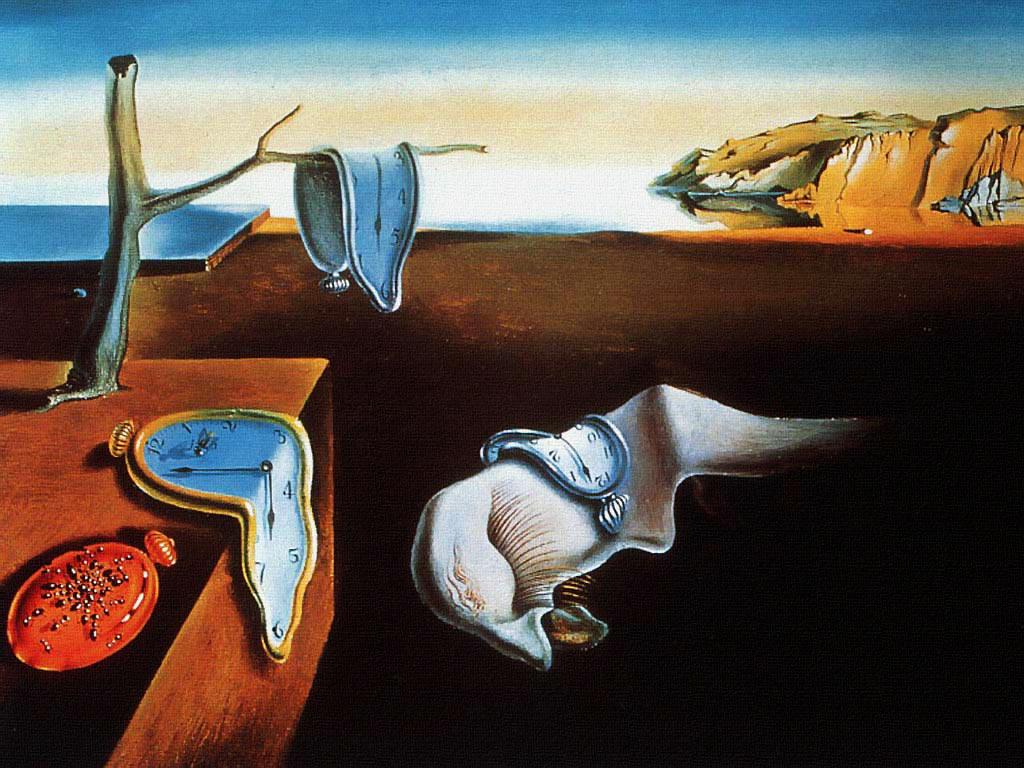 А вот и известная работа Сальвадора Дали «Постоянство памяти» 1931 года. Те же плавящиеся часы— символ непостоянства времени. На выставке ее нет, она хранится в Музее современного искусства в Нью-Йорке. Но увидев предыдущую иллюстрацию, ее сразу вспомнят зрители