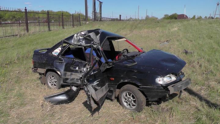 В Белозерском районе пьяный водитель врезался в столб
