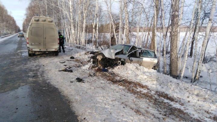 В Зауралье машина вылетела с трассы и врезалась в дерево. Погибли женщина и четырехлетняя девочка