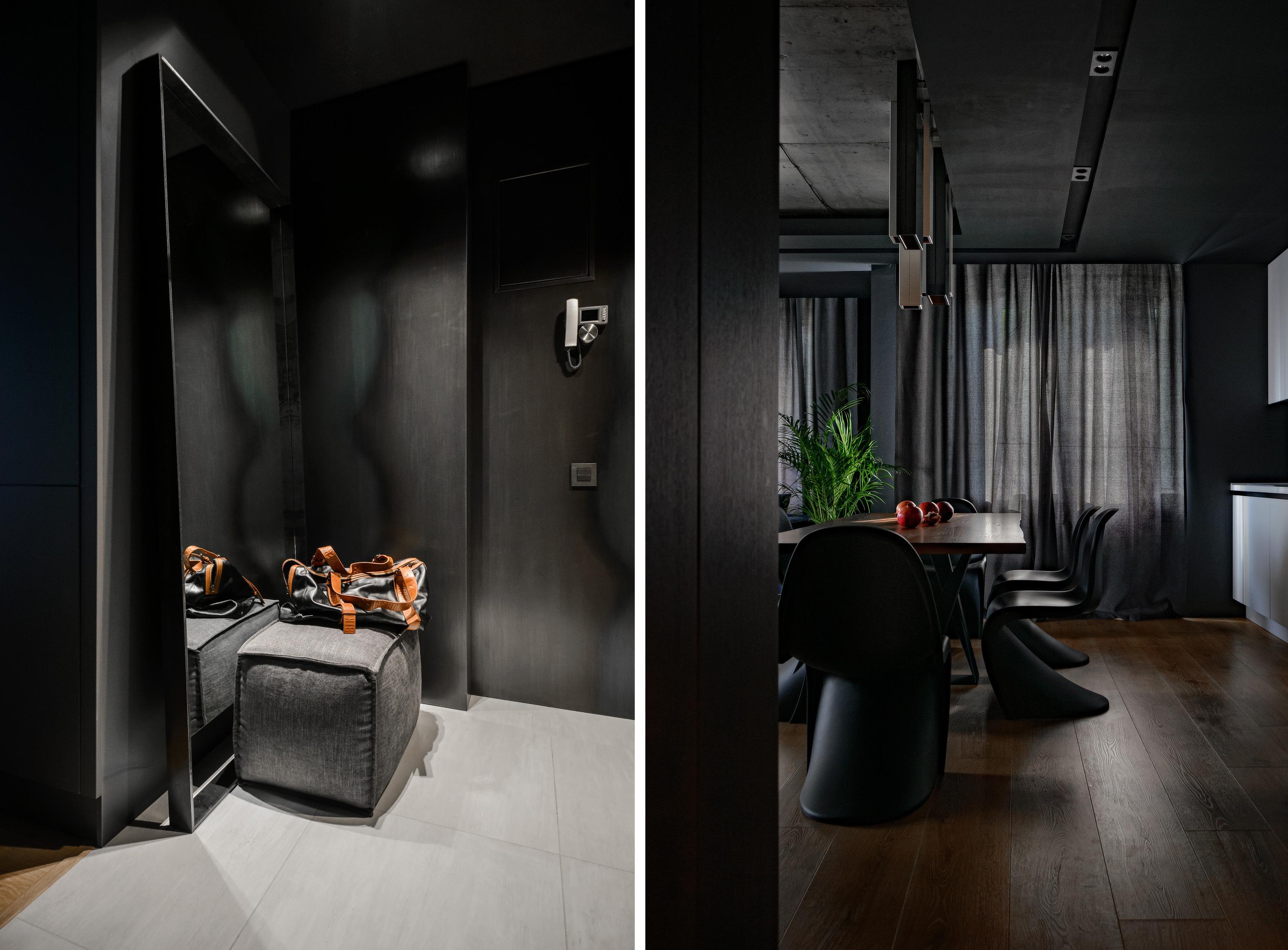 Квартира может показаться мрачной, но на самом деле полностью отражает пожелания её владельца — он не отходил от концепции ни на шаг и подбирал детали по визуализациям