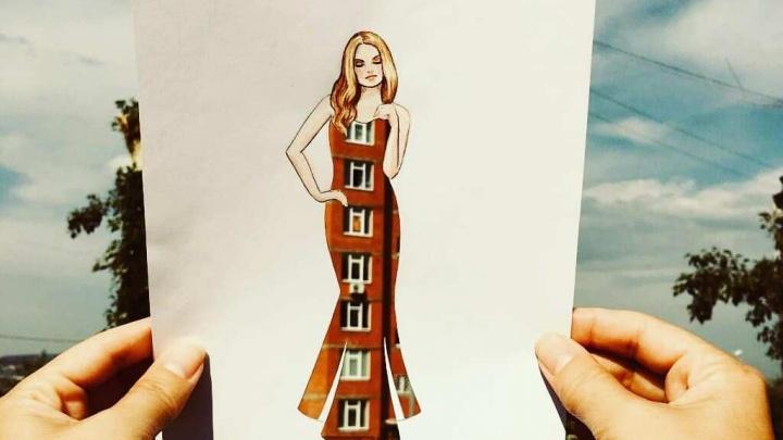 Красноярская художница создала серию рисунков с городскими пейзажами на платье