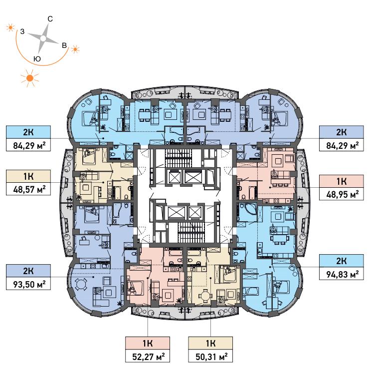 Типовой план этажей с 12-го по 14-й