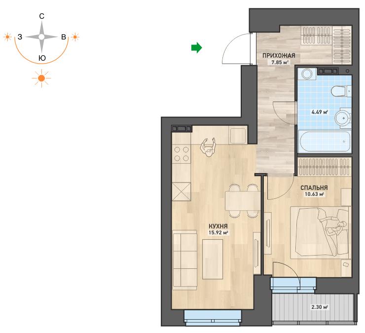 Снова в продаже востребованные 1-комнатные квартиры в ЖК «WOODs. Дома в парке» стоимостью от 2 565 000 рублей