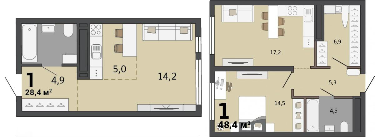 Можно объединить такие планировки на одном этаже