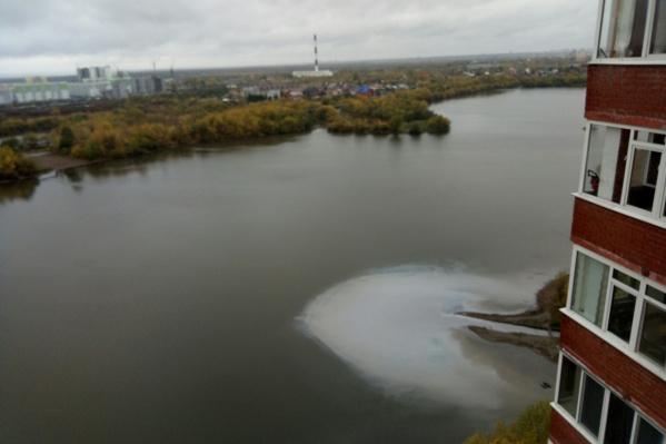 Неведомое белое пятно в реке зафиксировали очевидцы