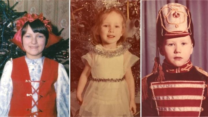 Красная Шапочка, Снежинка и Гусар: известные екатеринбуржцы показали свои детские фото у ёлки