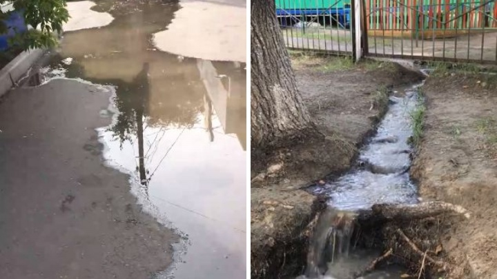 В «Солнечном» из-за порыва трубы затопило улицу