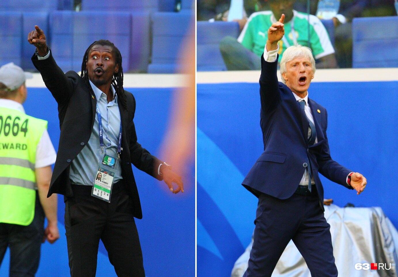 Тренеры Сенегала (слева) и Колумбии (Хосе Пекерман) показывают, как надо играть