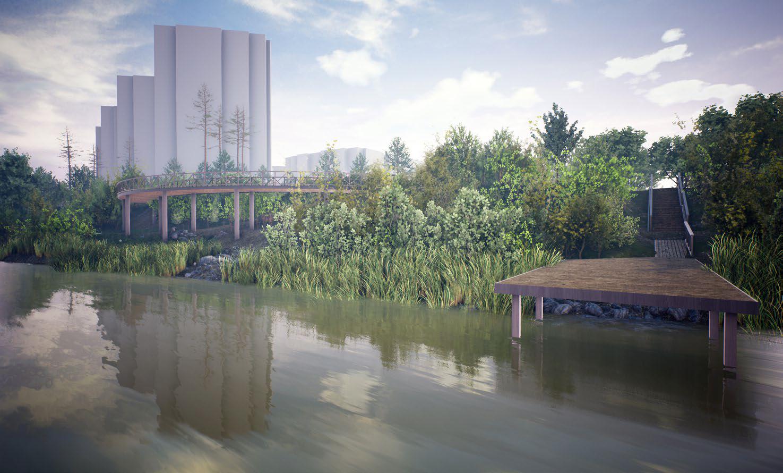 Главное преимущество набережной Ини, по мнению авторов концепции, — её неурбанистический характер: все здания находятся за спиной смотрящих на реку