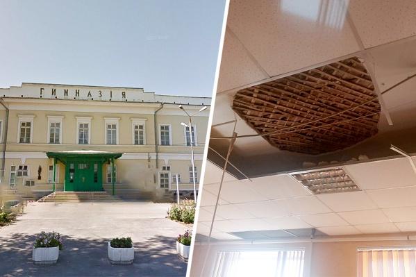 В таганрогской гимназии № 2 во время урока физики на учеников упал потолок