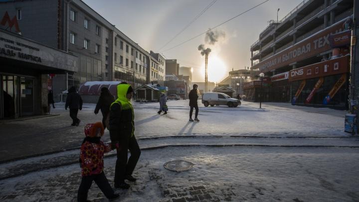 Местами до −38 градусов: Новосибирск замёрз из-за арктического антициклона