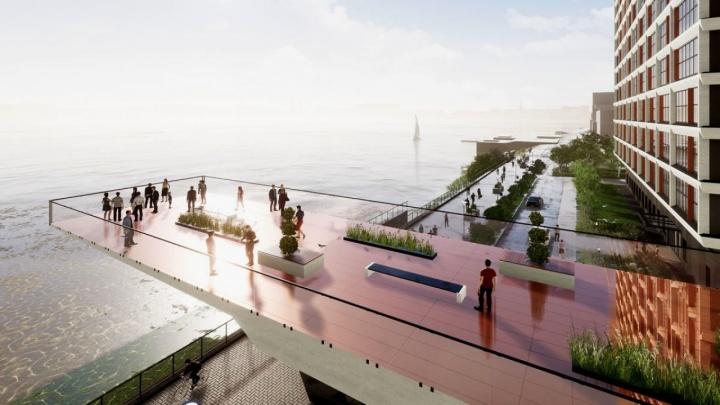 У реки строят ЖК ApartRiver: между домами сделают 17-метровую арку с лестницей