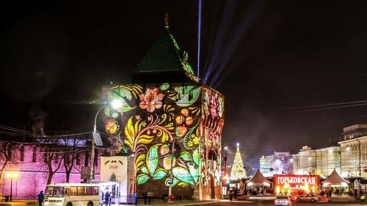Новая подсветка Нижегородского кремля в 15 ярких кадрах