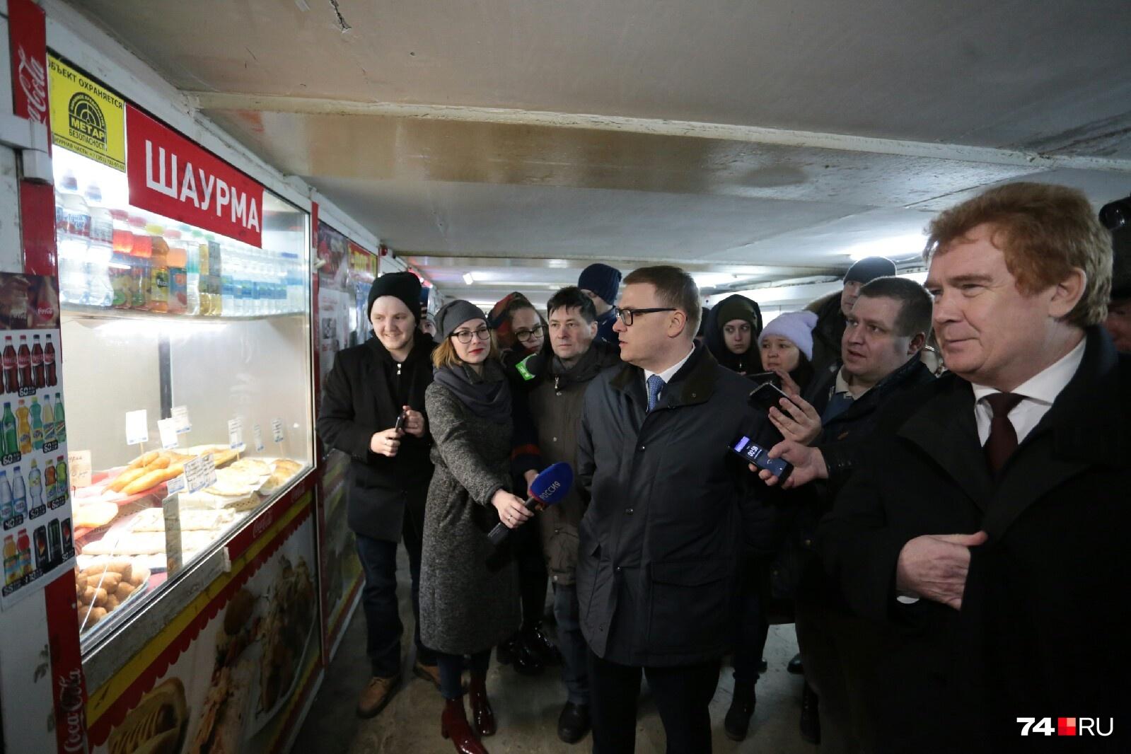 О ларьках в подземном переходе в центре Челябинска у Алексея Текслера возникло немало вопросов к мэру Владимиру Елистратову
