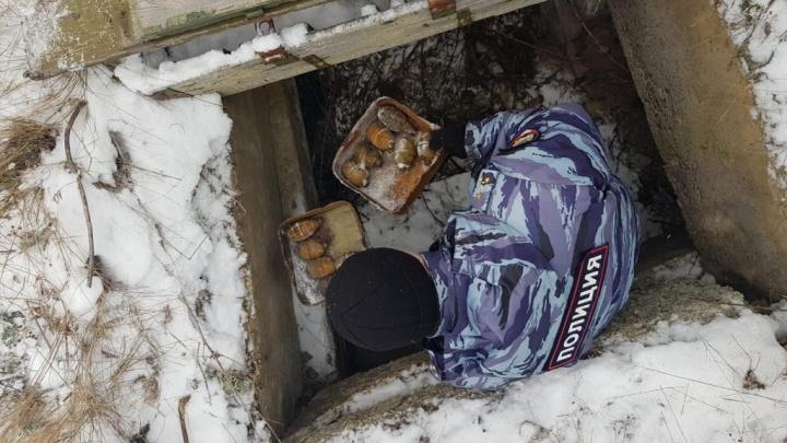 Свердловские силовики нашли в Верхней Пышме подземный тайник с гранатами