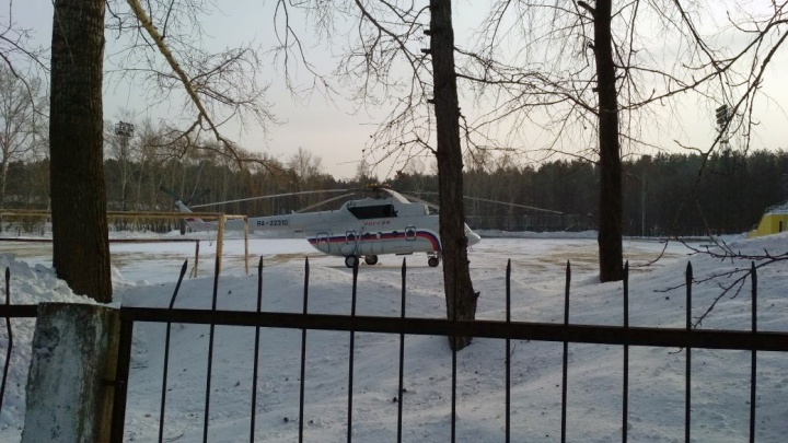На стадионе в Академгородке заметили президентский вертолёт