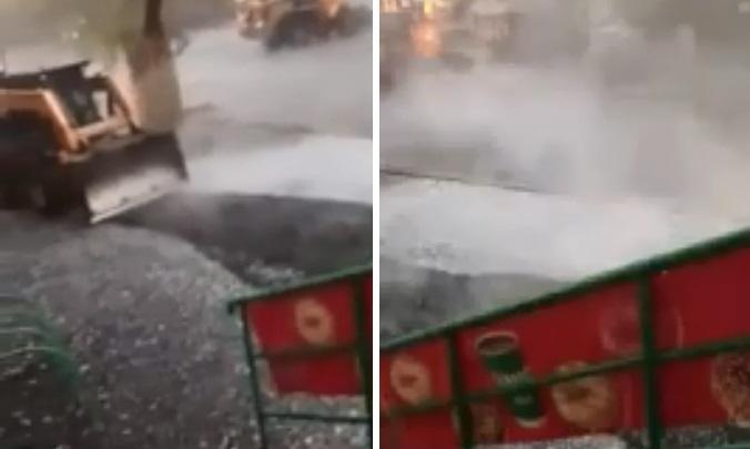 В Тюмени уложили асфальт, несмотря надождь с градом. Так можно?