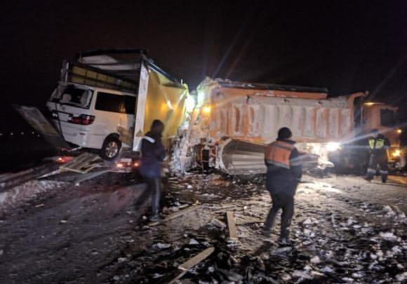 Под Новосибирском два грузовика устроили пробку на трассе