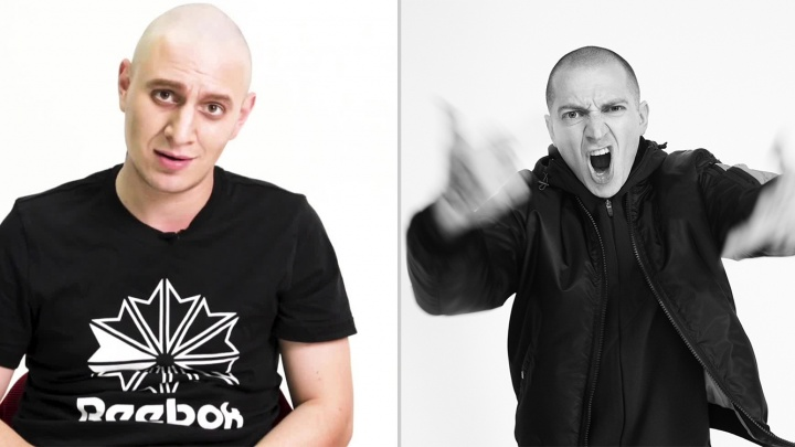 «Станет пафосной звездой»: комик из Новосибирска побрился налысо и спародировал рэпераOxxxymiron