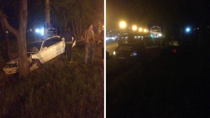 Пьяная компания въехала в дерево на правом берегу и сбежала с места ДТП до приезда полиции