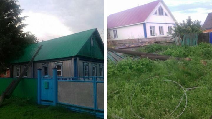 В Башкирии шквалистым ветром снесло столбы и оборвало линии электропередачи