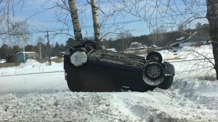 Пьяная женщина перевернула своё авто у КПП в Железногорск: пострадал только номер