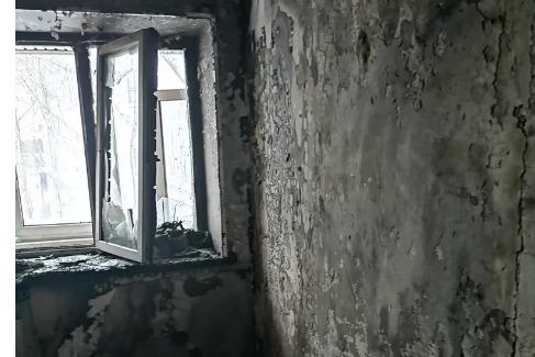 В пожаре на Алмазной улице пострадала семья с дет
